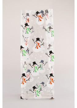Harmonicazak Sneeuwpop - Zijvouwzak Sneeuwpop - Kerstzakje